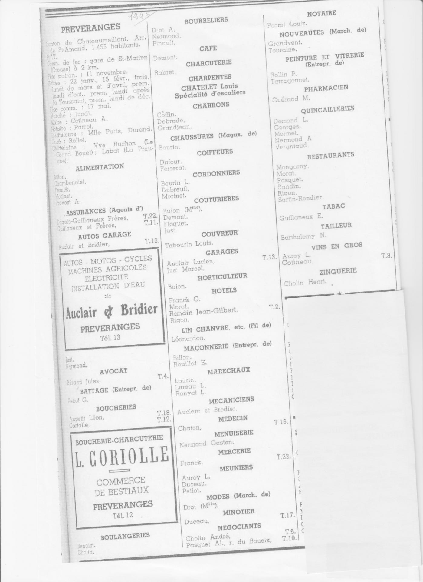 annuaire des commercants en 1943
